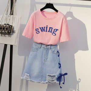 Pink casual loose skirt new women.